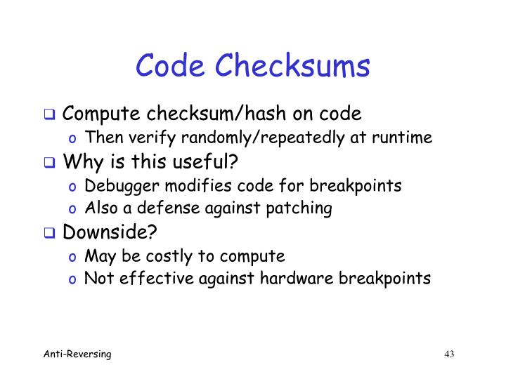 Code Checksums