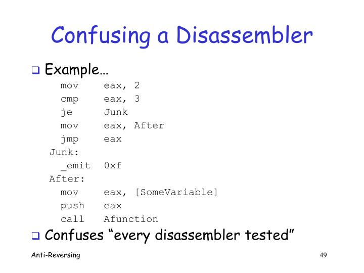 Confusing a Disassembler