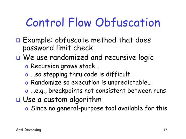 Control Flow Obfuscation