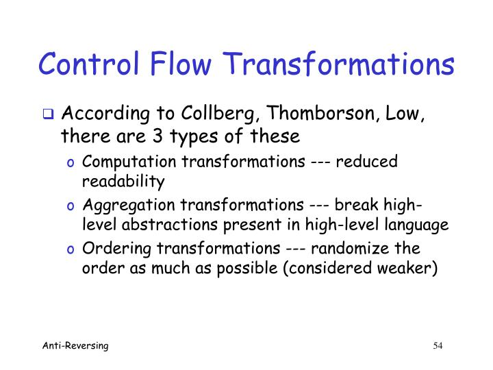 Control Flow Transformations