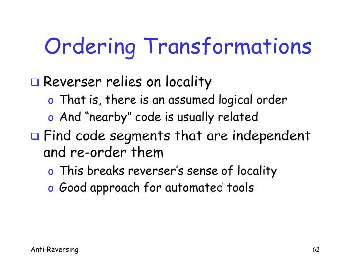 Ordering Transformations