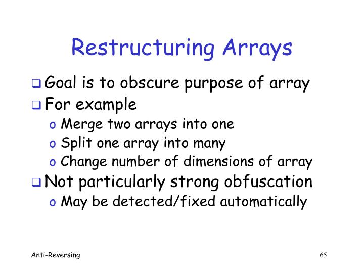 Restructuring Arrays