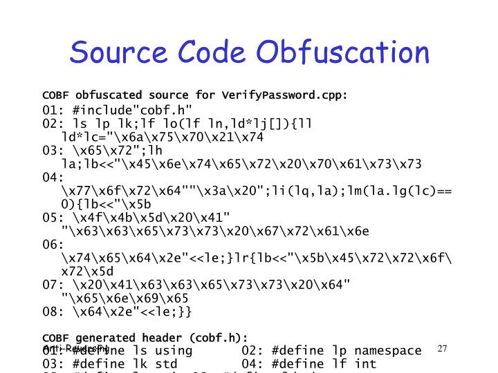 Source Code Obfuscation