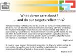 what do we care about and do our targets reflect this