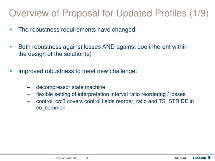 Overview of Proposal for Updated Profiles (1/9)