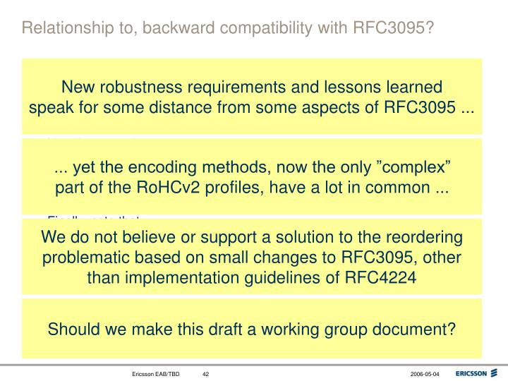 Relationship to, backward compatibility with RFC3095?