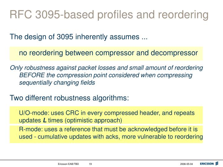RFC 3095-based profiles and reordering