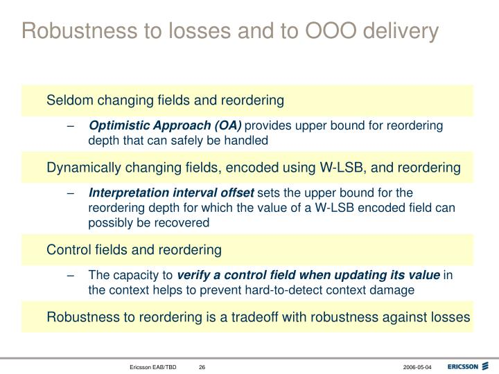 Robustness to losses and to OOO delivery