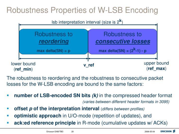 Robustness Properties of W-LSB Encoding