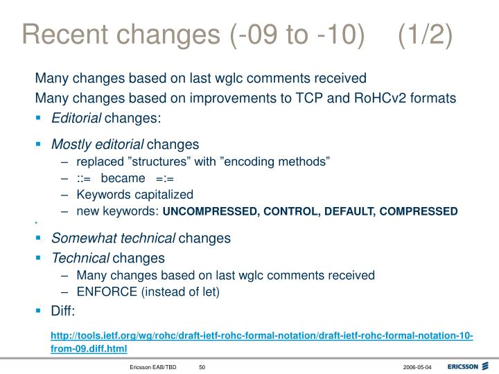 Recent changes (-09 to -10)    (1/2)