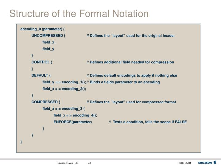 Structure of the Formal Notation