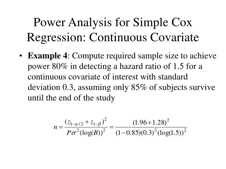 Power Analysis for Simple Cox Regression: Continuous Covariate