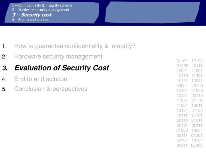 1 – Confidentiality & integrity scheme