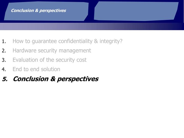 Conclusion & perspectives