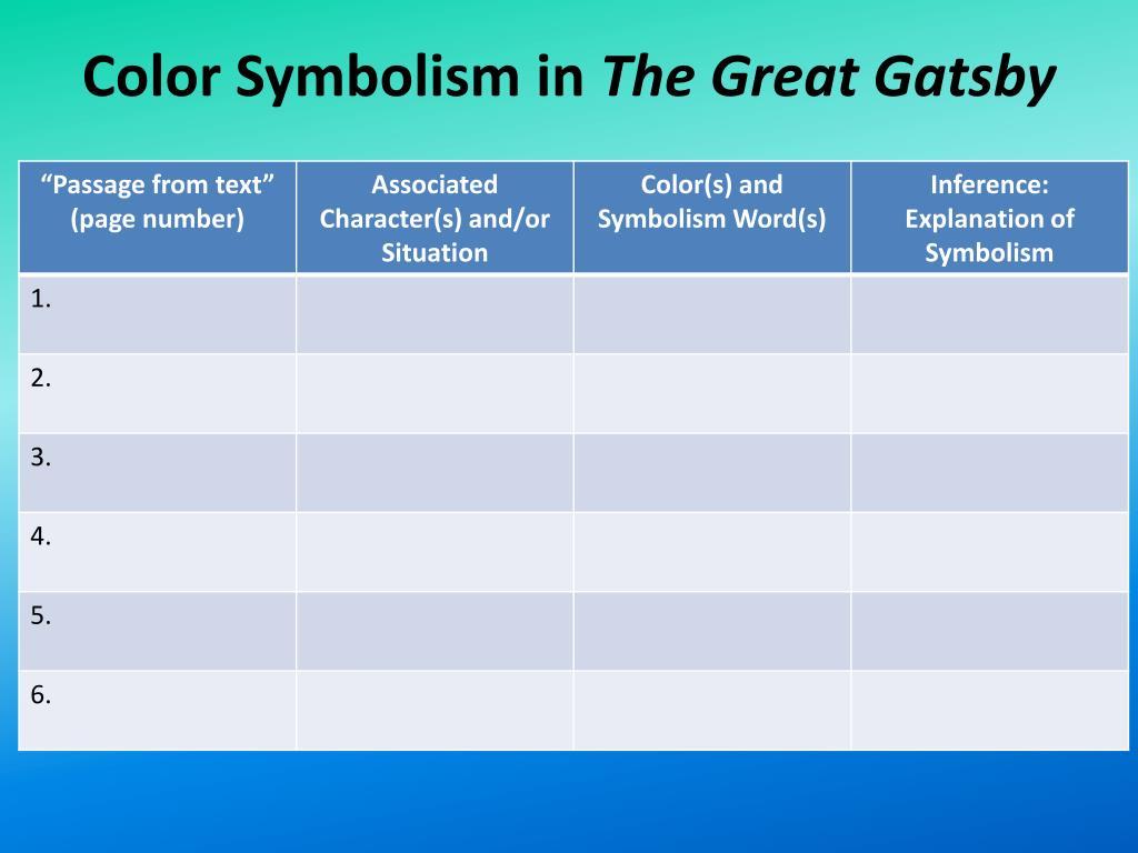 Ppt Color Symbolism Directions Brainstorm A List Of