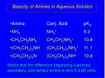 basicity of amines in aqueous solution1