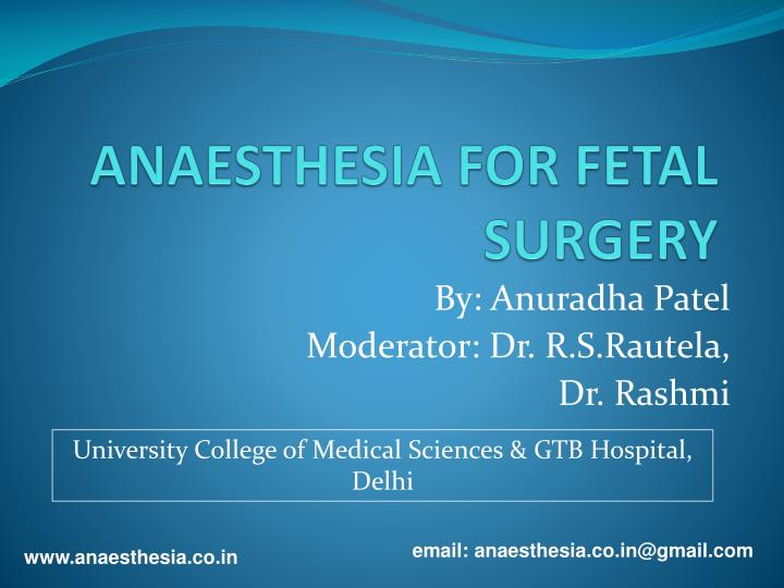 anaesthesia for fetal surgery n.