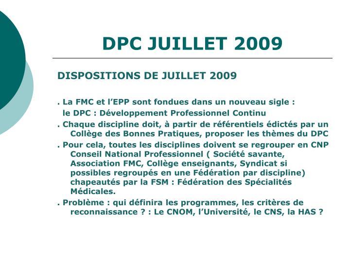 DPC JUILLET 2009