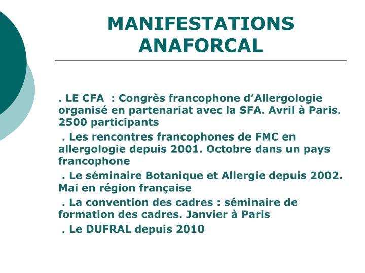 MANIFESTATIONS ANAFORCAL
