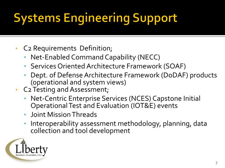 Systems Engineering Support