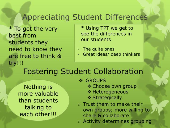Appreciating Student Differences