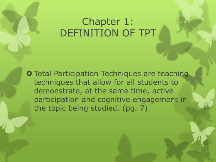 Chapter 1 definition of tpt