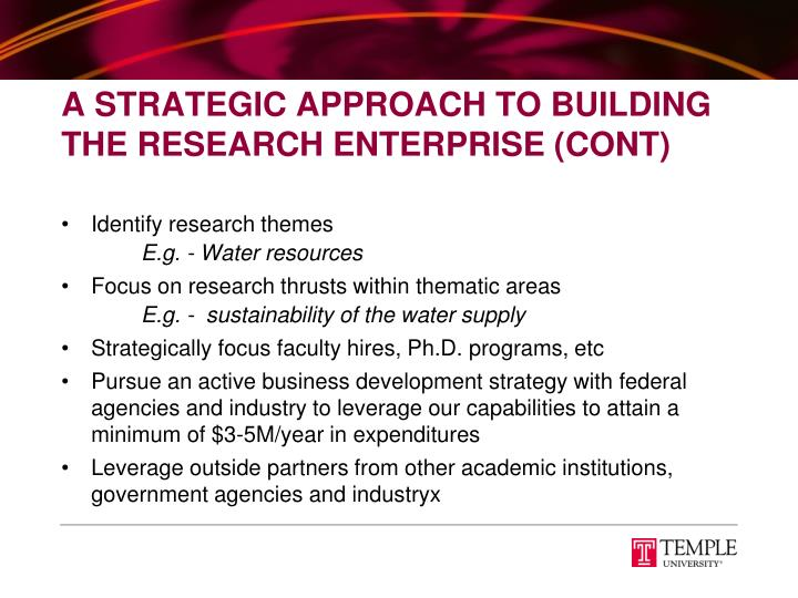 A Strategic Approach To Building The Research Enterprise (