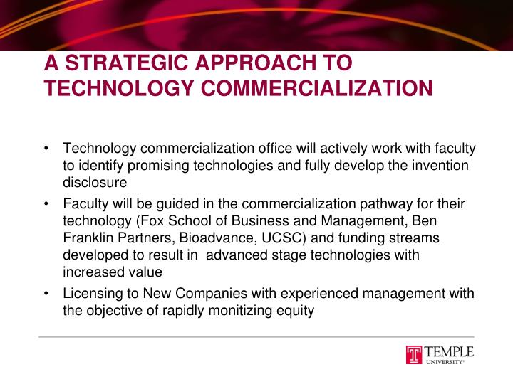 A Strategic Approach To Technology Commercialization