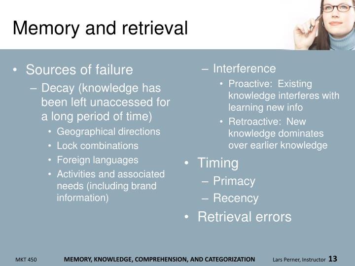 Memory and retrieval