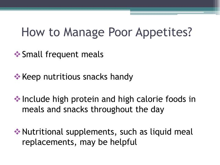 How to Manage Poor Appetites?