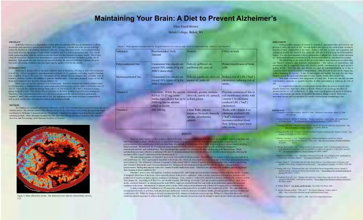 Maintaining Your Brain: A Diet to Prevent Alzheimer's