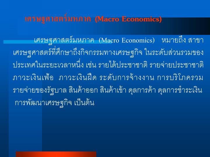 เศรษฐศาสตร์มหภาค  (Macro Economics)