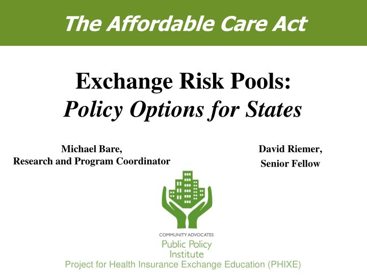 risk pooling in health care finance
