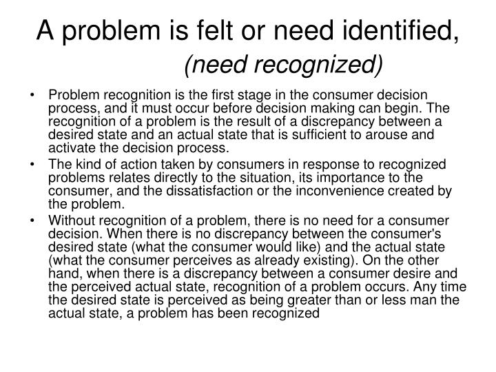 A problem is felt or need identified,