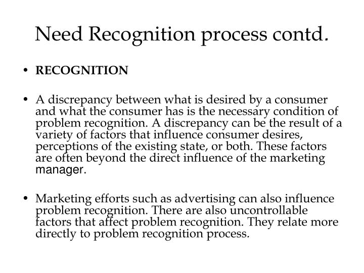 Need Recognition process contd