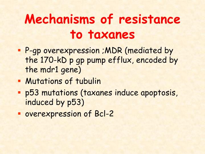 Mechanisms of resistance to taxanes