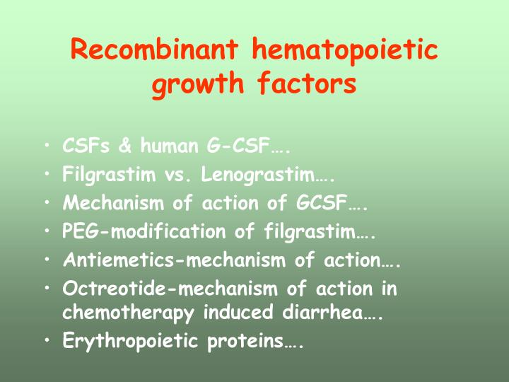 Recombinant hematopoietic growth factors
