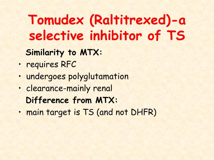 Tomudex (Raltitrexed)-a selective inhibitor of TS