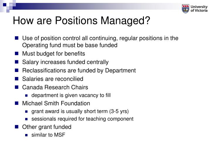 Use of position control all continuing, regular positions in the Operating fund must be base funded