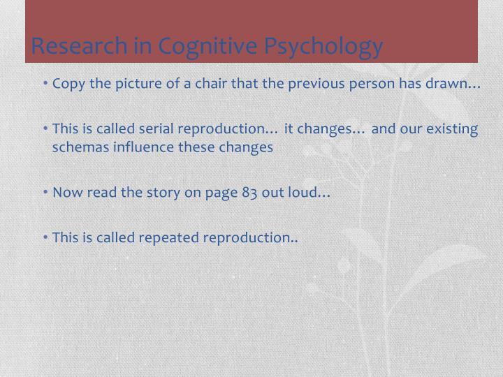 Research in Cognitive Psychology