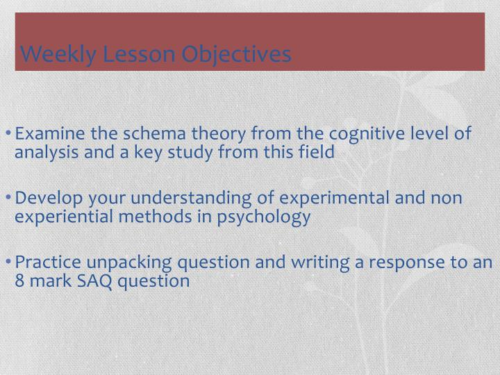 Examine the schema theory from the cognitive level of analysis and a key study from this field