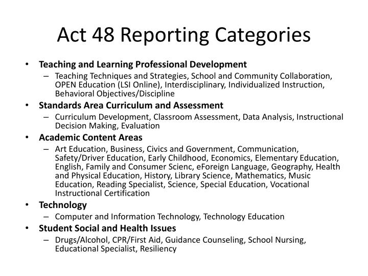 Act 48 Reporting Categories