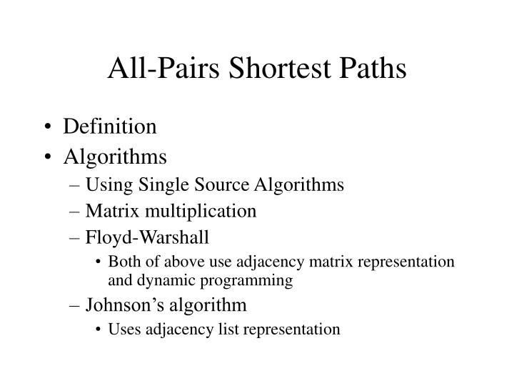 all pairs shortest paths n.