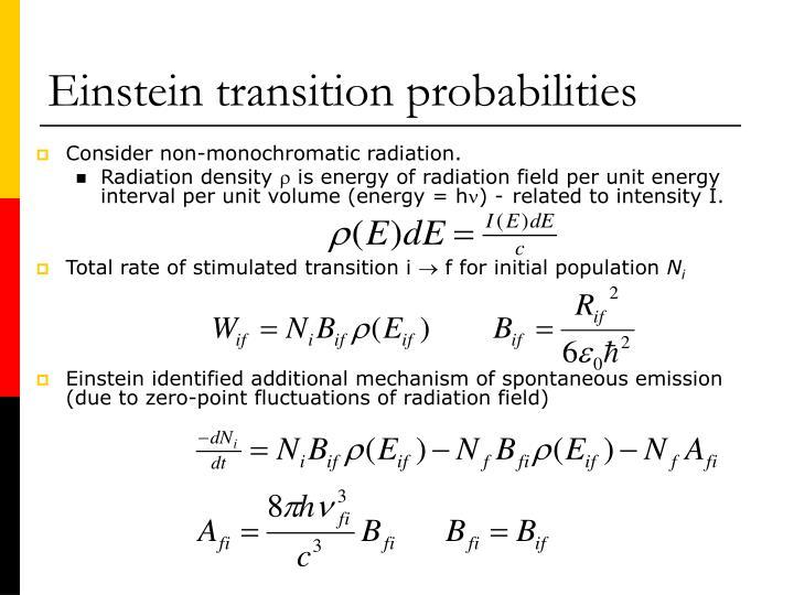 Einstein transition probabilities