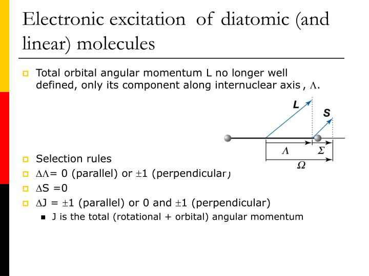 Electronic excitation  of diatomic (and linear) molecules