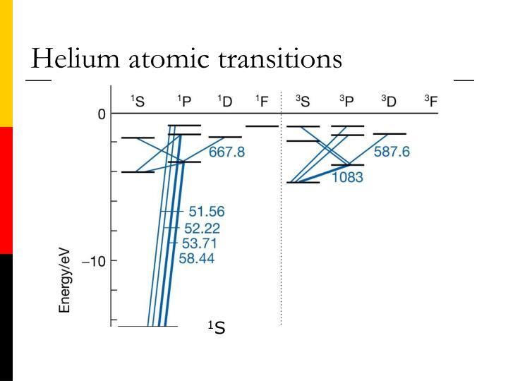 Helium atomic transitions