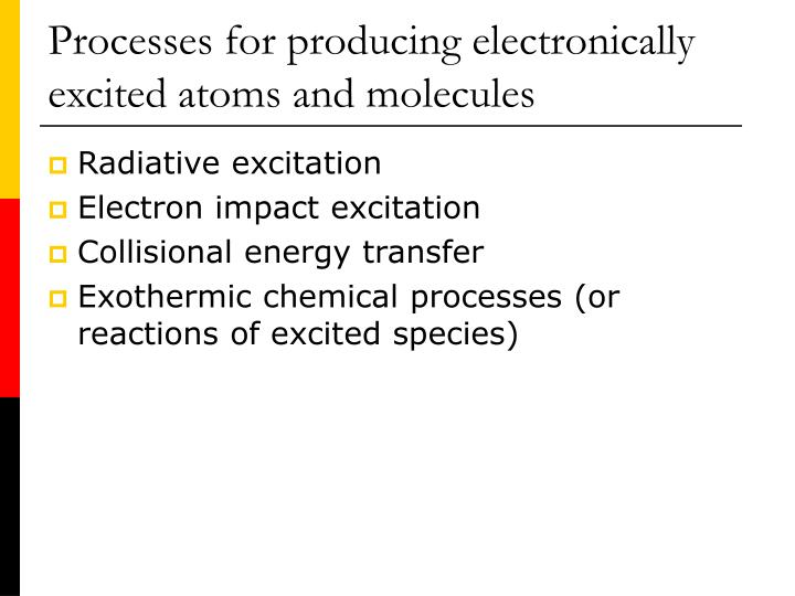 Processes for producing electronically excited atoms and molecules