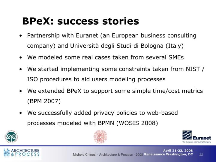 BPeX: success stories
