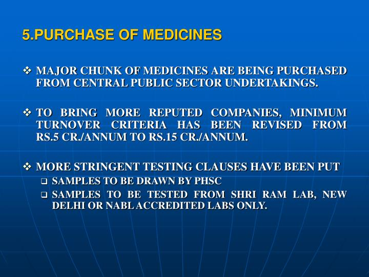 5.PURCHASE OF MEDICINES