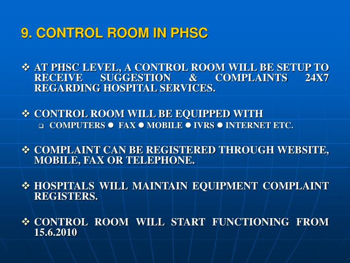 9. CONTROL ROOM IN PHSC